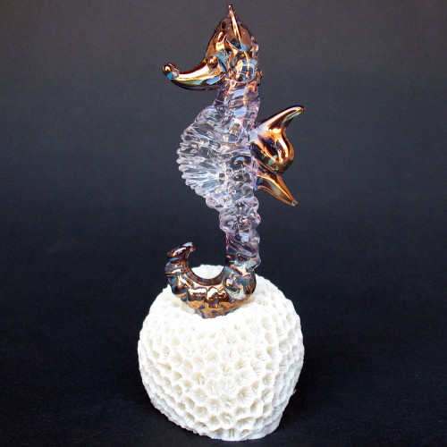 Hand Blown Glass Sea Horse Figurine Crystal Sculpture