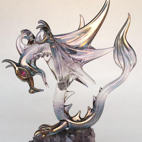 Hand Blown Glass Dragon Winged on Amethyst
