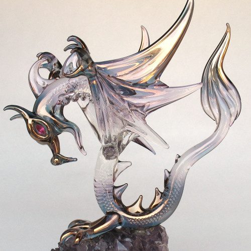 Hand Blown Glass Dragon Winged on Amethyst