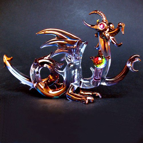 Hand Blown Glass Dragon Medieval