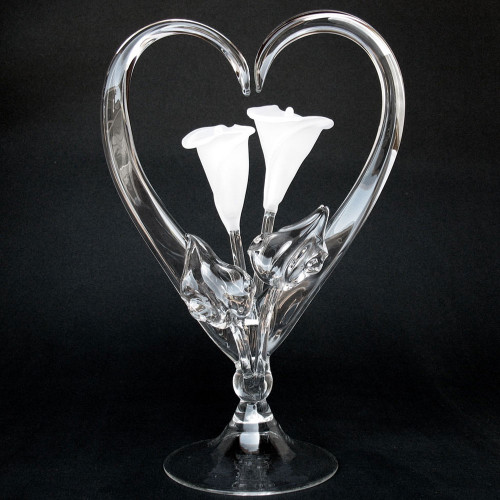 Calla Lily Wedding Cake Topper Hand Blown Glass