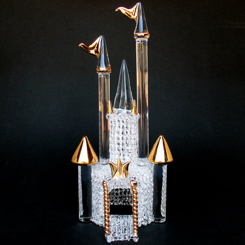 Glass Castle Wedding Cake Topper Gold
