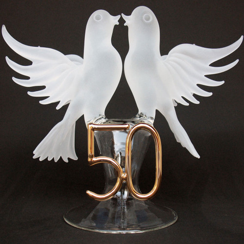 50th Anniversary Blown Glass Wedding Cake Topper White Doves
