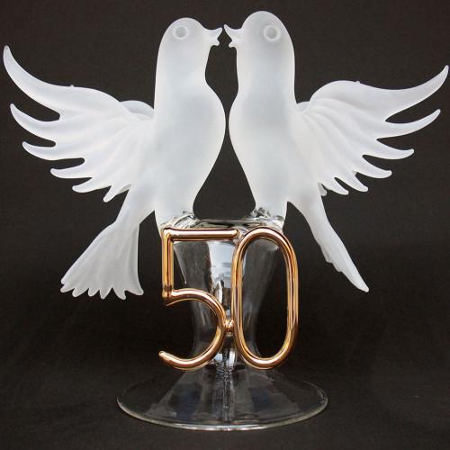 50th Anniversary Blown Glass Wedding Cake Topper White Doves