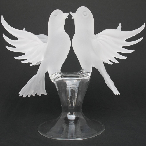 White Doves Lovebirds Blown Glass Wedding Cake Topper
