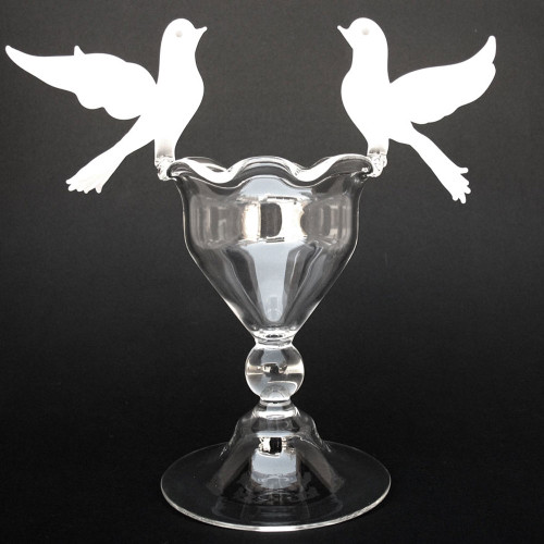 Blown Glass Doves Birdbath Wedding Cake Topper