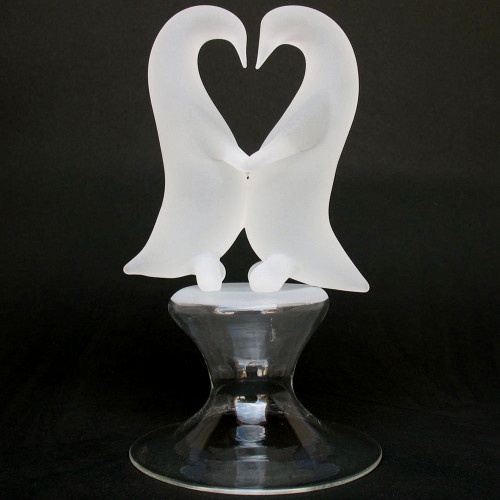 Blown Glass Penguins Dancing Wedding Cake Topper