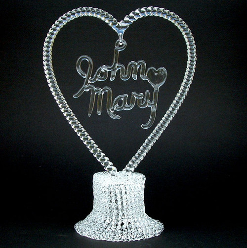Personalized Glass Wedding Cake Topper