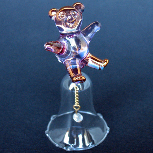 Teddy Bear Bell Hand Blown Glass