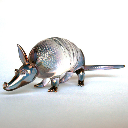 Hand Blown Glass Armadillo Figurine