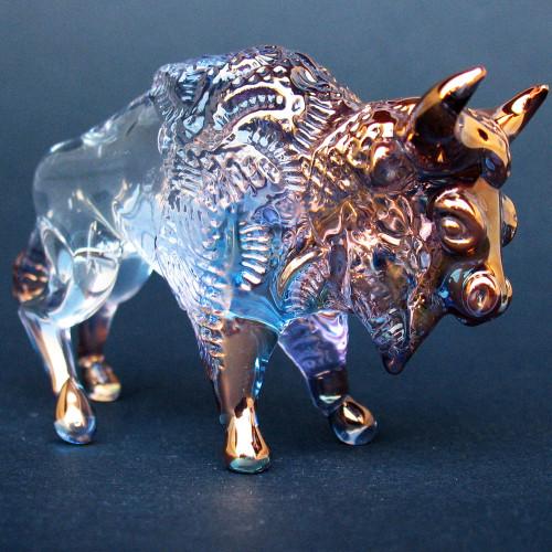 Hand Blown Glass Bison Figurine Buffalo Sculpture