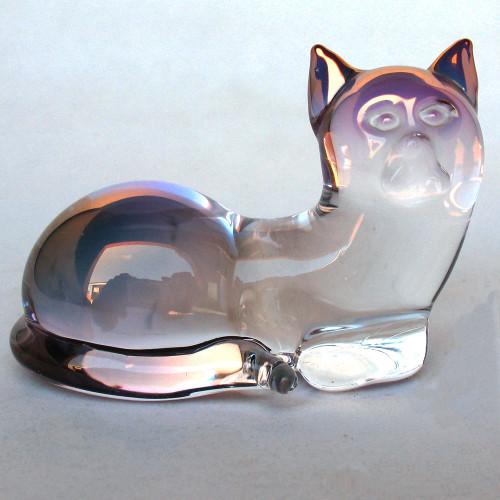 Hand Blown Glass Cat Relaxing Figurine