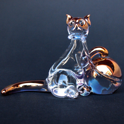 Hand Blown Glass Cat with Yarn Figurine