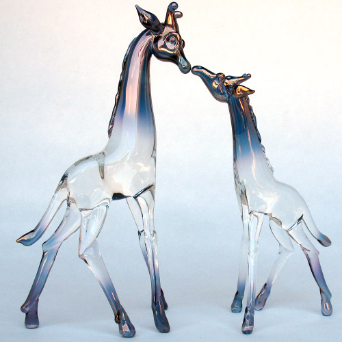 Hand Blown Glass Giraffe Mother and Baby  Figurine