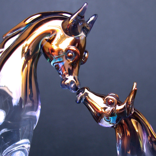 Hand Blown Glass Horse Mare and Foal Set