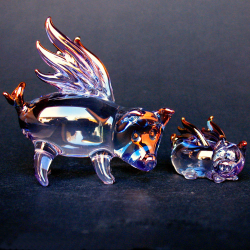 Hand Blown Glass Flying Pigs Mother and Baby Set