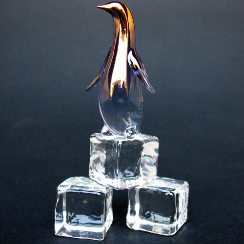 Hand Blown Glass Penguin on Ice Cubes