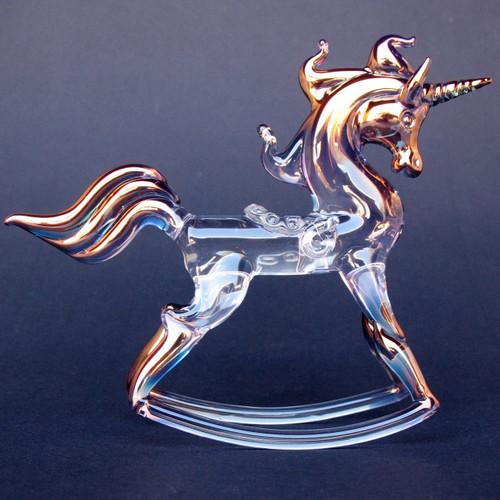 Hand Blown Glass Rocking Unicorn