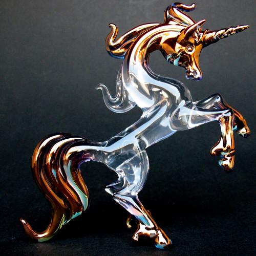 Hand Blown Glass Unicorn Rearing