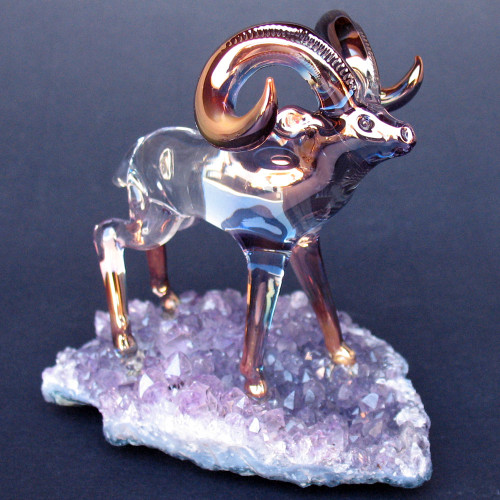 Hand Blown Glass Bighorn Sheep Ram