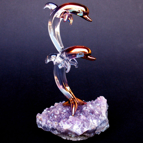 Hand Blown Glass Dolphins