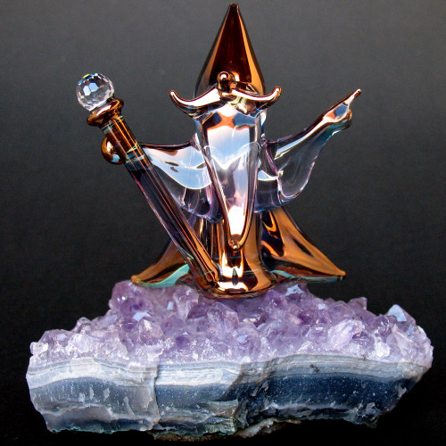 Hand Blown Glass Wizard on Amethyst Crystal