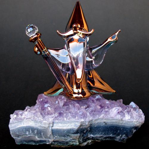 Hand Blown Glass Wizard on Amethyst Crystal