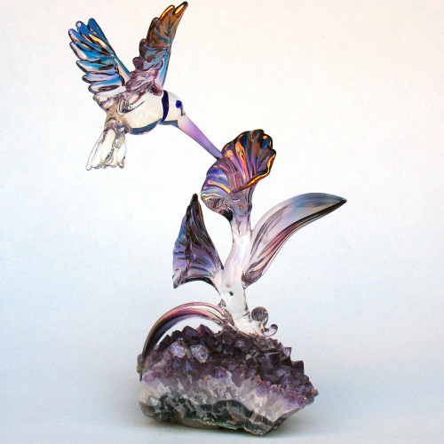 Hand Blown Glass Hummingbird Sculpture