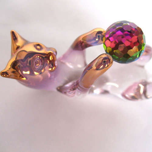 Hand Blown Glass Cat with Crystal Ball of String