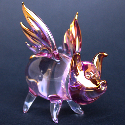 Hand Blown Glass Flying Pig