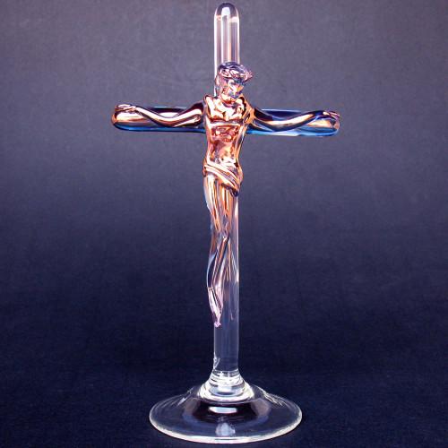 Hand Blown Glass Crucifix
