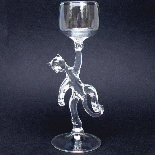 Cat Kitten Wine Glass Hand Blown Crystal Goblet