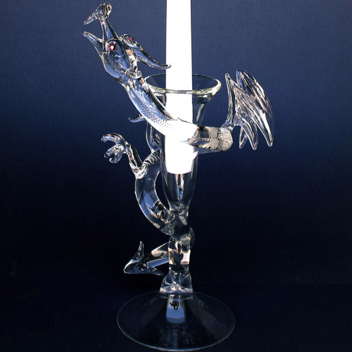 Blown Glass Dragon Candle Holder