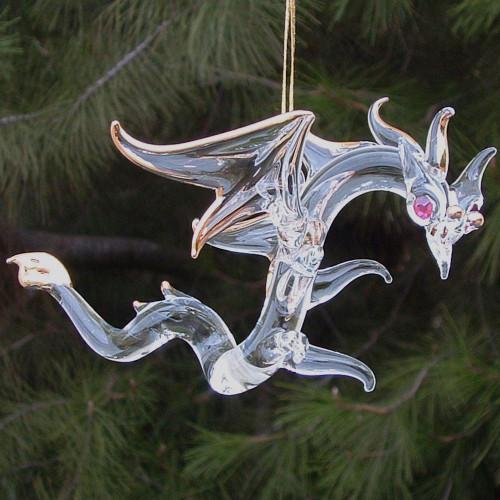 Hand Blown Glass Dragon Crystal Christmas Ornament