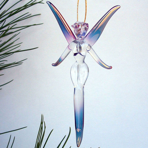 Hand Blown Glass Fairy Christmas Ornament