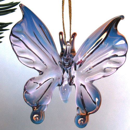 Hand Blown Glass Butterfly Christmas Ornament