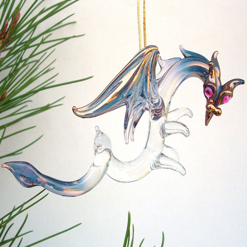 Hand Blown Glass Dragon Christmas Ornament