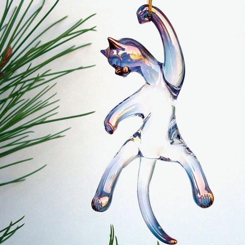 Hand Blown Glass Cat Christmas Ornament