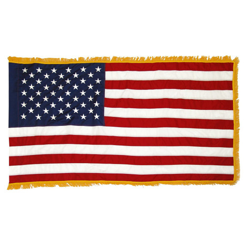 4' x 6' INDOOR Nylon U.S. Flag with Sewn Stars and Stripes and Fringe