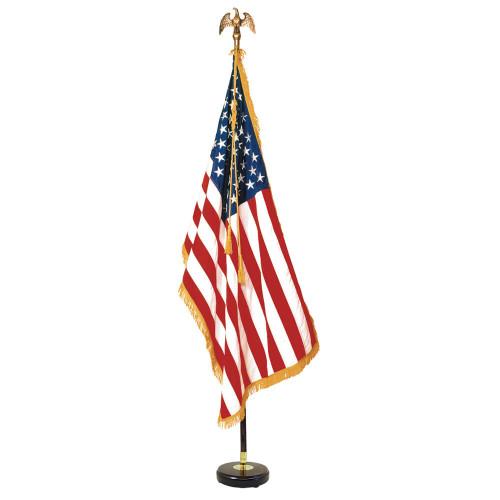 Signature US Indoor 3' x 5' Nylon Flag Mahogany Presentation Set