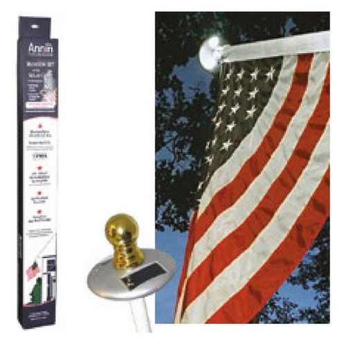 3x5' American Flag with Pole and Solar Light Kit