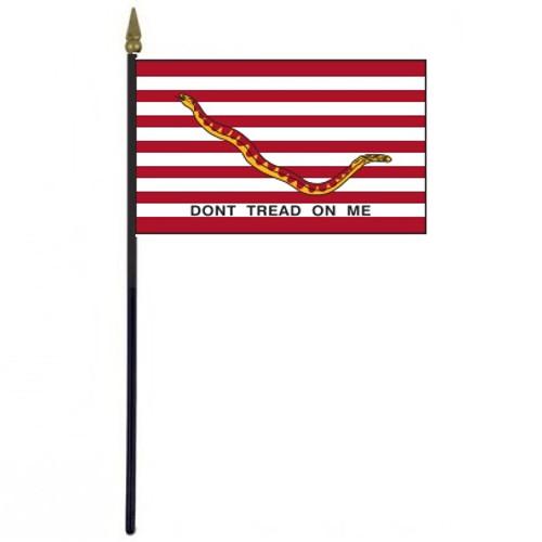 "Striped Don't Tread on Me Stick Desktop 4"" x 6"" Flag"