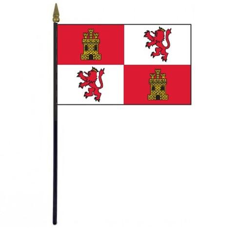 "Royal Standard of Spain stick flag 4"" x 6"""