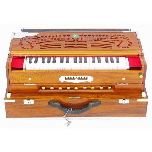 MONOJ K SARDAR Harmonium A440, 3 Reeds, 9 Scales, Teak, Folding AHB
