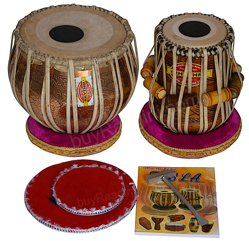 MUKTA DAS Golden Ganesha Tabla Drum Set, 4KG Copper Bayan