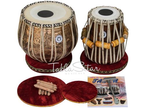 MAHARAJA MUSICALS Lord Shiva Designer Tabla, Copper Bayan Sheesham Dayan CAA