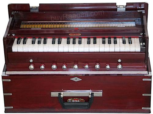 BINA NO. 23B Kirtan Harmonium, Folding, 2 Reed 3.5 Octave, Coupler AGH