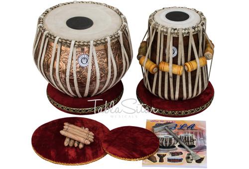 MAHARAJA MUSICALS 4 Kg Ganesha Copper Tabla, Designer Dayan, Hammer CJD