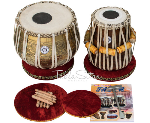 MAHARAJA MUSICALS 3.5kg Ganesha Kalash Brass Tabla, With Lacquer Finish BHE