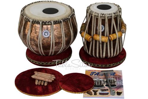 MAHARAJA MUSICALS Tabla, 3.5Kg Golden Ganesh Copper Bayan, Finest Dayan BGI